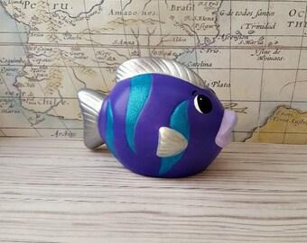 Purple Fish Piggy Bank, Fish Piggy Bank, Piggy Bank, Bank, Baby Bank, Baby Piggy Bank, Purple Fish, Nautical Nursery Decor, Purple Bank