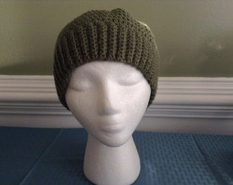 Crocheted Messy Bun Hat, Olive Green