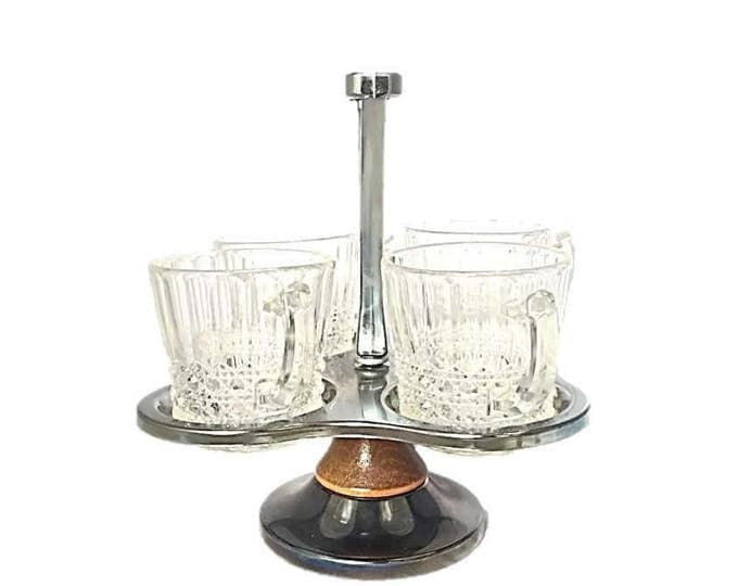 Vintage Lazy Susan Condiment Server | Relish Tray with 4 Glass Holders