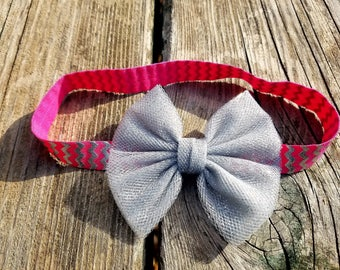 Hair Accessory, Girls Accessory, Pink and Silver Headband, Girls Headband, Birthday, Bow Headband, Baby Accessory, Photo prop, Silver Bow