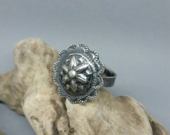 Sterling silver adjustable statement ring, textured, boho chic, one of a kind, unique jewellery uk sellers only