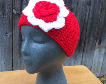 Bright Red Headwarmer with White Flower| Button Earwarmer | Santa Red Headband | Christmas Red
