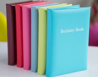 Leather Birthday Book, Handmade in England, Birthday Dates, Pocket Size, 100mm W x 150mm H, Fun Colours