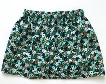 Baby Girls Skirt, Toddler Skirt, Girls Skirt, Green and Gold Skirt, Green Gold and Teal, Small Floral Skirt, Summer Skirt, Spring Skirt