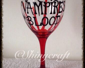 Handpainted Wine Glass, Halloween, Gothic, Goth, Vampire, Alternative, blood design, horror, hand painted, macabre