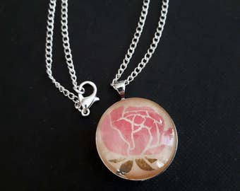 Handmade Floral Necklace - Wooden Pendant with Peony Design, on Silver Chain.