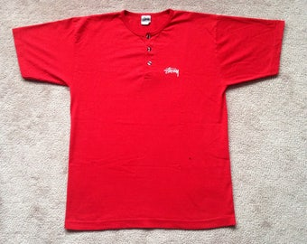 Vintage stussy internarional 90s skateboarding t shirt button up mens medium red made in USA
