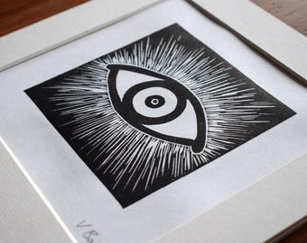 Evil Eye Protection Art Block Print (Gothic, Quirky, Lemony Snicket)