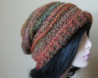 Soft Slouchy Hat; Multi Muted Tweed