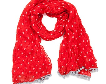 Red & Gray Pom Pom Scarf - Originally 15.00