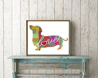 Dachshund (Wiener Dog) Love - A Colorful Watercolor Style Gift for Dog Lovers - Wall Art Home Decor Dog Breed Print & Can be Personalized