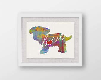 Toy Poodle (Teacup / Teddy Bear) Love - A Colorful, Bright & Whimsical Watercolor Print Home Decor Gift - Can Be Personalized with Name