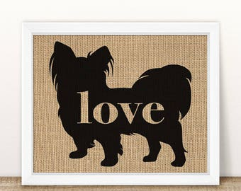 Papillon / Toy Spaniel - Burlap Print for Dog Lovers - Personalize With Name - Most Breeds Available - Rustic Farmhouse Silhouette (101p)