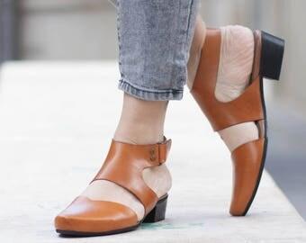 Women Leather Sandals, Heeled Sandals, Camel Leather Sandals, Summer Shoes, Heels,