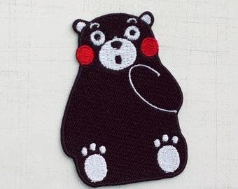 6 x 8 cm, Black Bear Iron On Patch