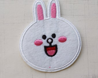 8.3 x 7.5cm, Happy White Bunny Iron On Patch (P-504)