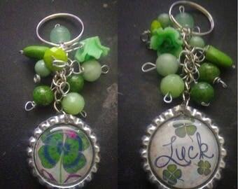 4 Leaf Clover / Luck, Irish Themed Bottle Cap Keychain