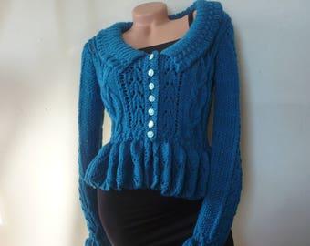 Women Ladies Cardigan Jacket with Peplum Hand Knitted Wool