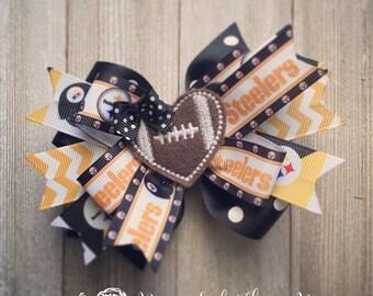 Pittsburgh Steelers Hair Bow, Bow & Crochet Headband or Beanie Set with Football Heart Feltie Center