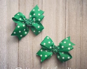 Single or Set of 2: St. Patrick's Day Polka Dot Pigtail Hair Bows with Glittery Shamrock Embellishment