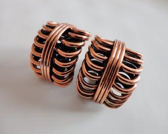 Vintage Renoir Copper Coiled Clip Earrings