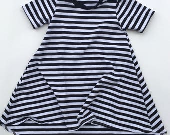 Black & White Striped Long Sleeve Dress with high low hem for baby and toddler girls sizes newborn to 5/6T