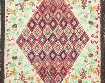 """3'3"""" x 4'9"""" Antique American Hooked Rug #16700"""