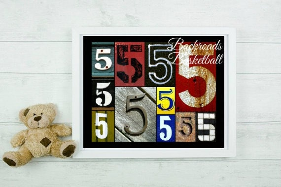 Number 5 numbers collage fine art home decor wall art photo for Number 5 decorations