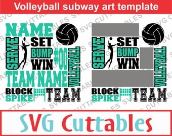 Volleyball Subway Art SVG, Volleyball SVG, DXF, Digital Cut File