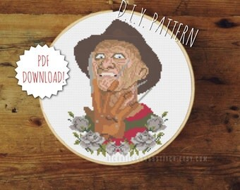 DIY Freddy Krueger - Nightmare on Elm Street cross stitch PATTERN. Counted cross stitch pattern. Needlepoint pattern.