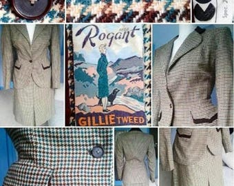 SALE****Rare and Collectable 1940s CC41 Labelled Houndstooth Tweed Wool Suit by Rogant Gillie!