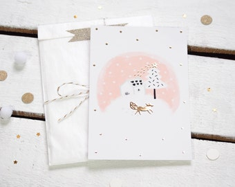 """Shinny postcard """"Høm, a house under the snow"""" - Illustration / Gold gildings - Soft pink - Pastel/Animal-Fox-Nature-Christmas/Greeting card"""
