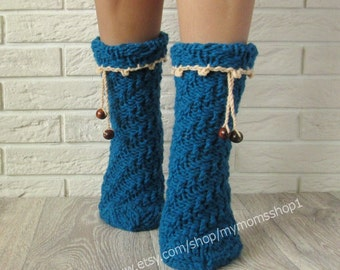 Women socks Gifts Socks. Spiral socks with wooden beads. Hand Knit socks Wool socks Handmade blue-green socks Warm socks.