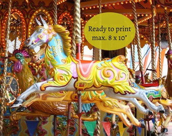 Carousel horse art, pony picture, merry go round, carousel photograph, ready to print, digital photo, good photographs, Australian sellers