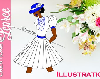 Illustration Only: Sassy Hat Lady Fashion Character Illustration