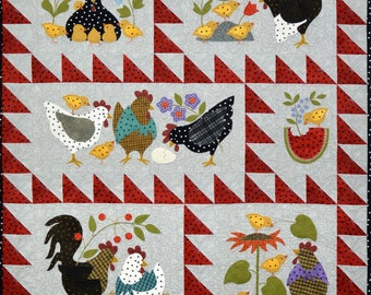 Here A Chick, There A Chick Quilt Pre-cut Quilt Kit w/ Pre-fused Applique Pieces