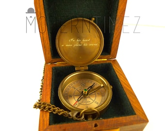 Baptism Day Gift, Baptized, Confirmed,Engraved compass with Plain Wooden box, Baptism, Confirmation Gift, Christening, Father's day