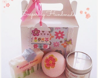 Gift Box, Rose and Jasmine fragrance, with Frankincense and Patchouli, Soap bar, bath bomb, soy wax candle, and bath truffle,
