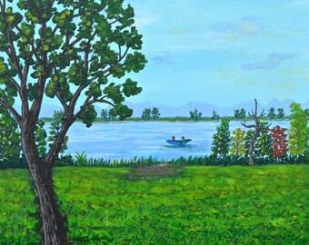 Tree Original Landscape , Tree Art, Lake  Painting, Gift Idea, 11x14in, MelidasArt