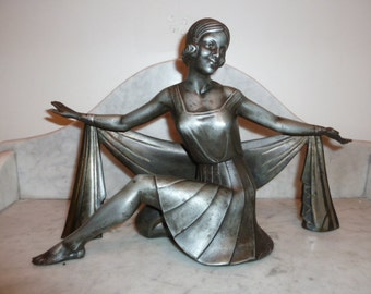 French Art Deco spelter lady dancer with scarf statue sculpture circa 1930