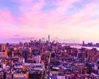 Pink New York City Skyline Photography Print - Various Sizes