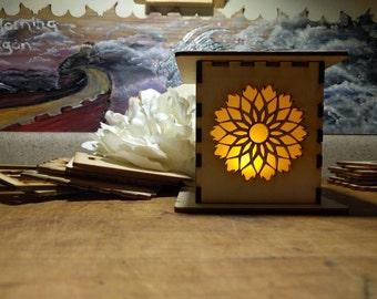 Wooden sun mandala mood and night light lamp
