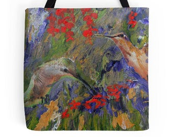 Hummingbird art, Tote Bag, Unique Tote, Ladies Purse, Market Bag, Airline Tote, Book Bag, Beach Tote, Bird Art, Bird Tote