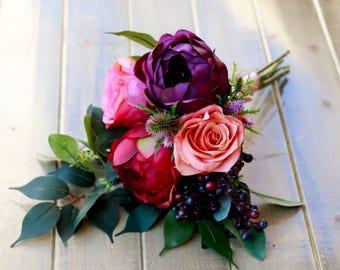 Plum Burgundy Pink and Coral Rose Bridesmaid Bouquet - Silk Bouquet, Wedding Bouquet, Bridal Bouquet