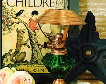 Vintage Green Glass and Copper Oil Lamp 1970s Hong Kong