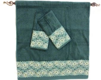 Decorative Jade Towels Cream Lace Decorated Towel Set Housewarming Gift For New Home Under 50 Green