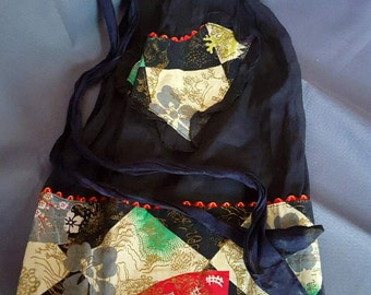 Vintage Black Sheer & Asian Inspired Half Apron