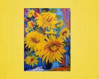 Oil painting original, Oil painting, Oil painting flowers, Oil painting sunflower, Sunflower canvas, Yellow sunflower, Still life paintings