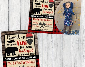 Lumberjack Any Age Personalized birthday invitation- ***Digital File*** (Lumber-WOODPIC)