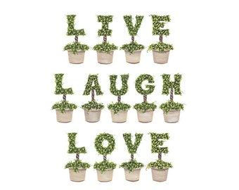 Live Laugh Love Topiary Letter Print